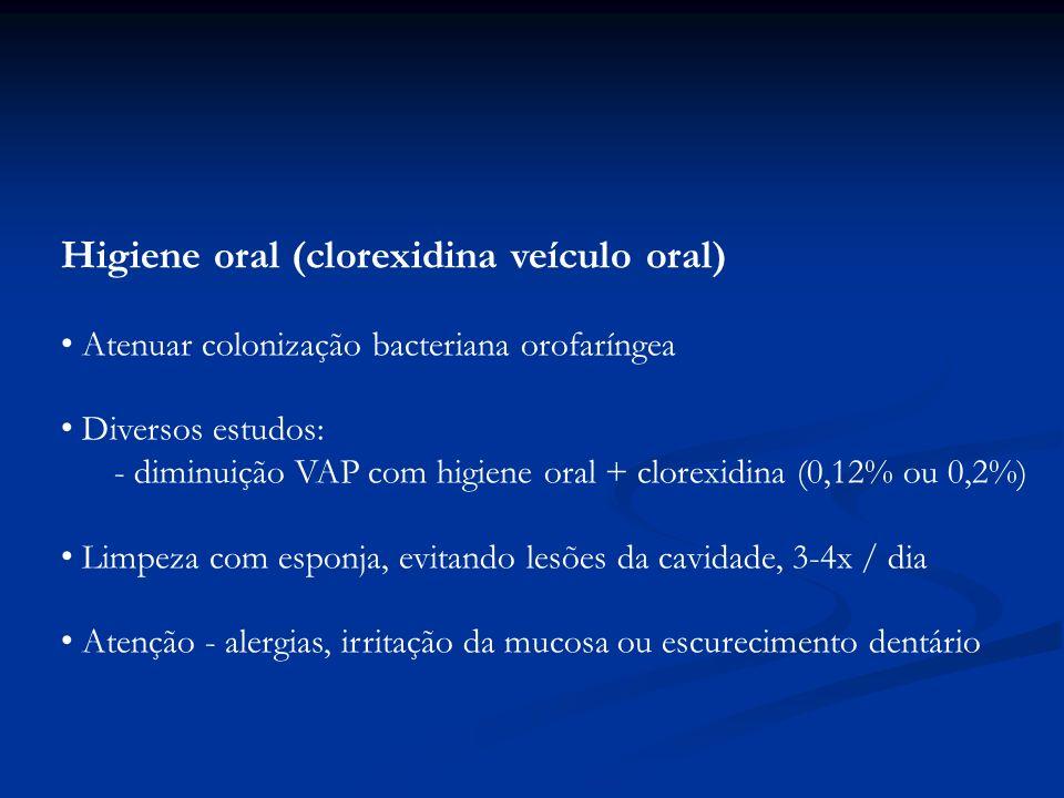Higiene oral (clorexidina veículo oral) Atenuar colonização bacteriana orofaríngea Diversos estudos: - diminuição VAP com higiene oral + clorexidina (