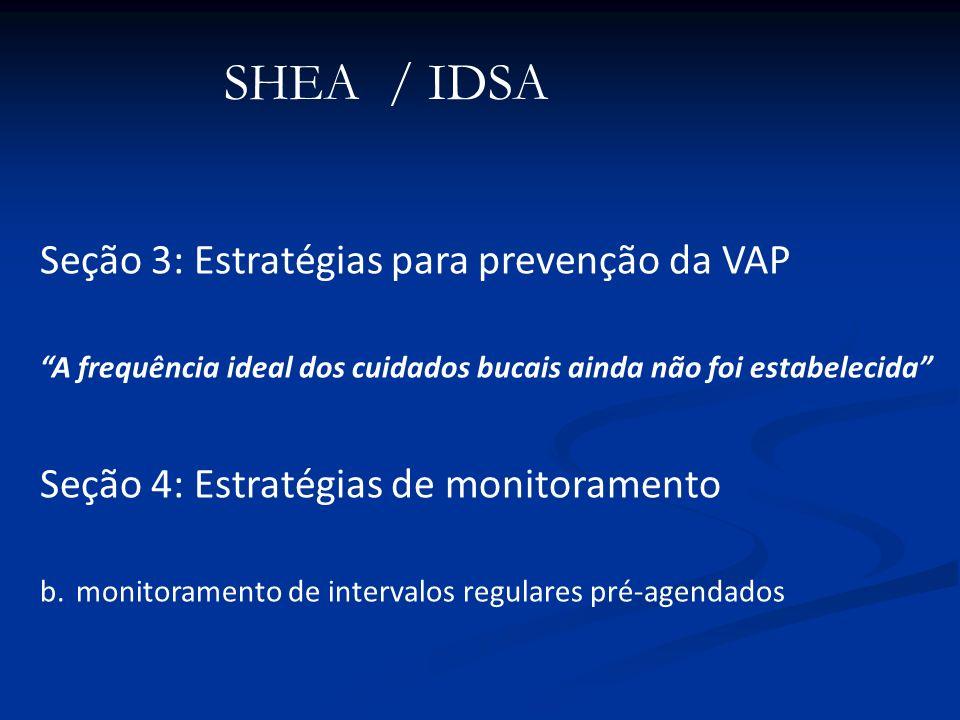 Seção 3: Estratégias para prevenção da VAP A frequência ideal dos cuidados bucais ainda não foi estabelecida Seção 4: Estratégias de monitoramento b.m