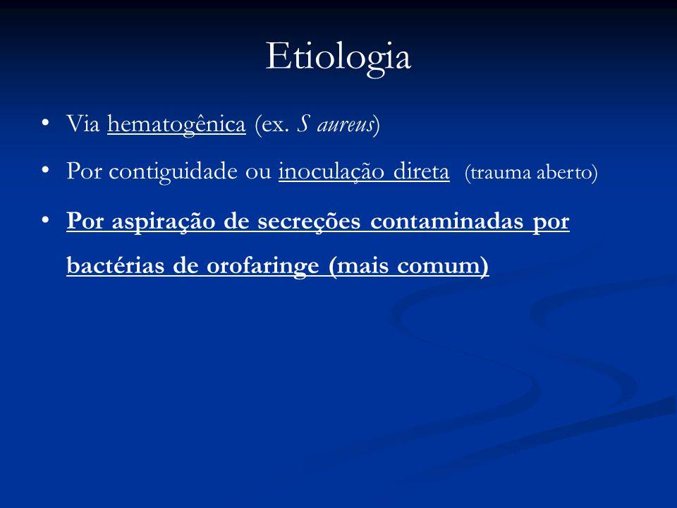 Via hematogênica (ex. S aureus) Por contiguidade ou inoculação direta (trauma aberto) Por aspiração de secreções contaminadas por bactérias de orofari
