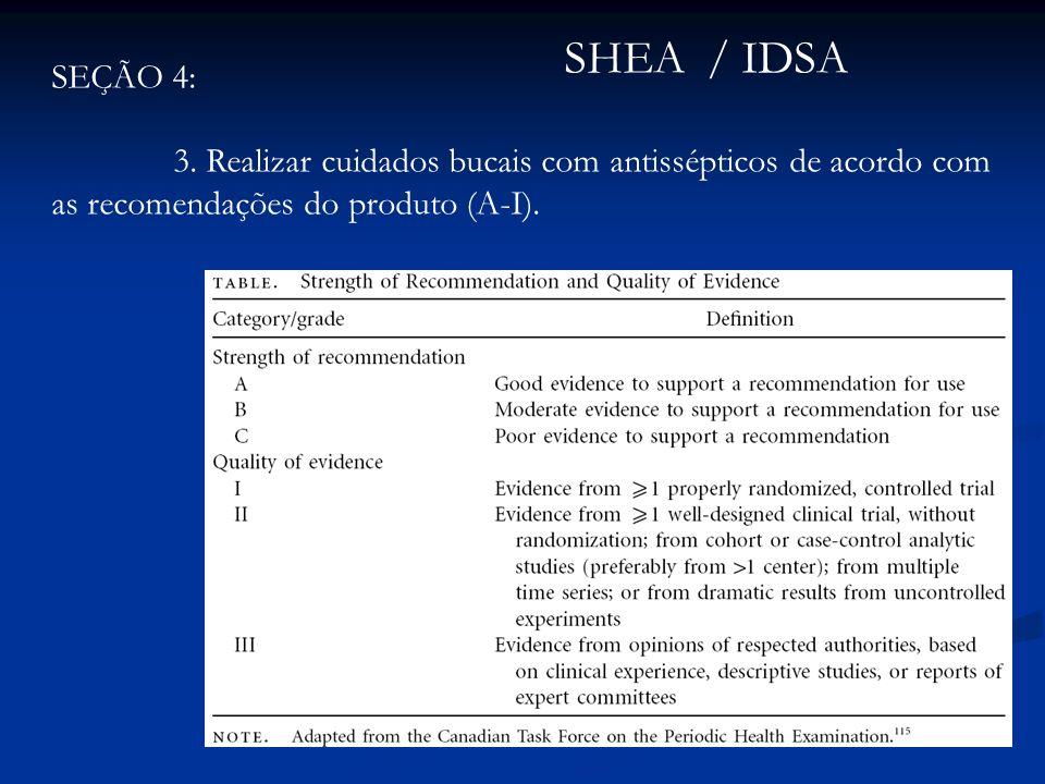 SEÇÃO 4: 3. Realizar cuidados bucais com antissépticos de acordo com as recomendações do produto (A-I). SHEA / IDSA