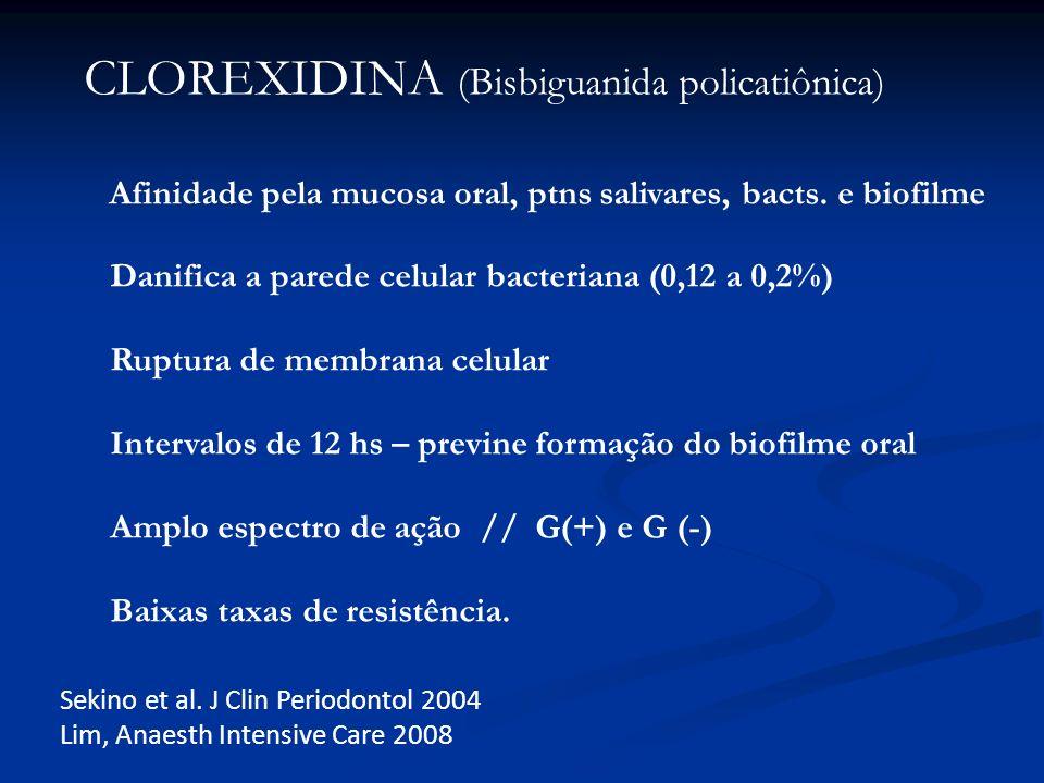 CLOREXIDINA (Bisbiguanida policatiônica) Afinidade pela mucosa oral, ptns salivares, bacts. e biofilme Danifica a parede celular bacteriana (0,12 a 0,