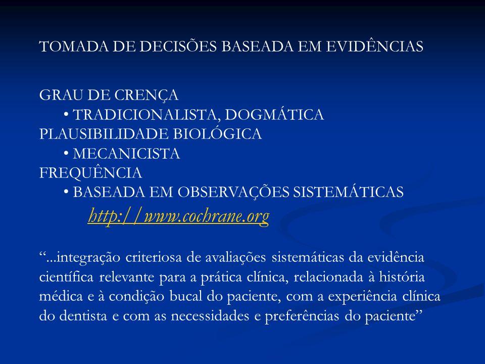 TOMADA DE DECISÕES BASEADA EM EVIDÊNCIAS GRAU DE CRENÇA TRADICIONALISTA, DOGMÁTICA PLAUSIBILIDADE BIOLÓGICA MECANICISTA FREQUÊNCIA BASEADA EM OBSERVAÇ