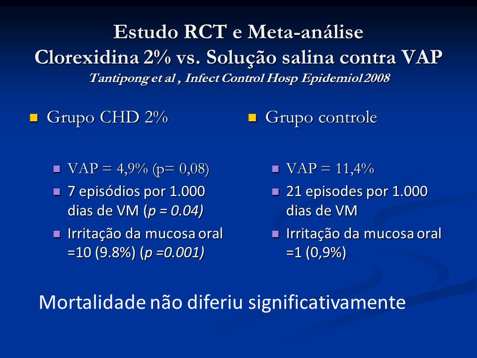 Estudo RCT e Meta-análise Clorexidina 2% vs. Solução salina contra VAP Tantipong et al, Infect Control Hosp Epidemiol 2008 Grupo CHD 2% Grupo CHD 2% V