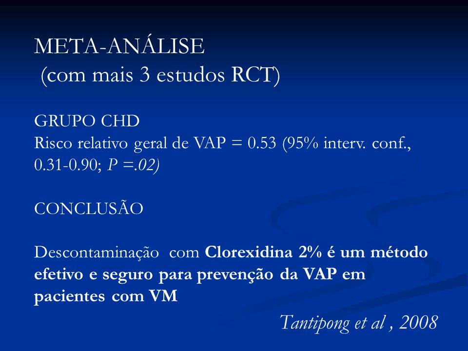 META-ANÁLISE (com mais 3 estudos RCT) GRUPO CHD Risco relativo geral de VAP = 0.53 (95% interv. conf., 0.31-0.90; P =.02) CONCLUSÃO Descontaminação co