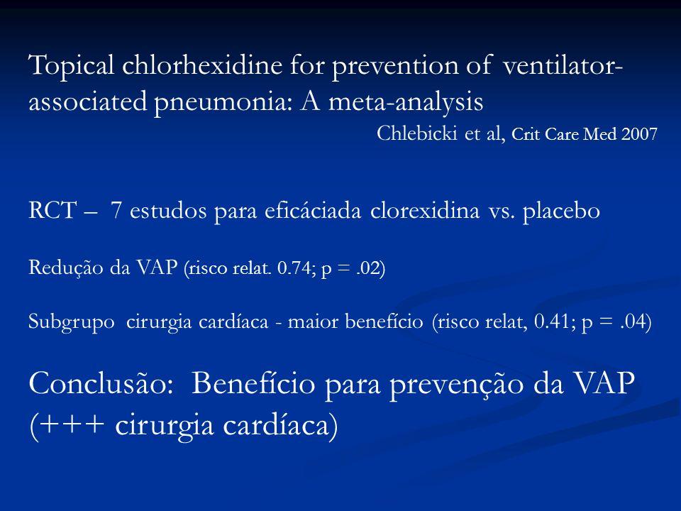 Topical chlorhexidine for prevention of ventilator- associated pneumonia: A meta-analysis Chlebicki et al, Crit Care Med 2007 RCT – 7 estudos para efi