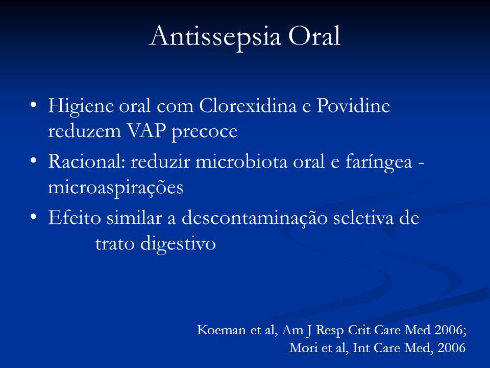 Antissepsia Oral Higiene oral com Clorexidina e Povidine reduzem VAP precoce Racional: reduzir microbiota oral e faríngea - microaspirações Efeito sim