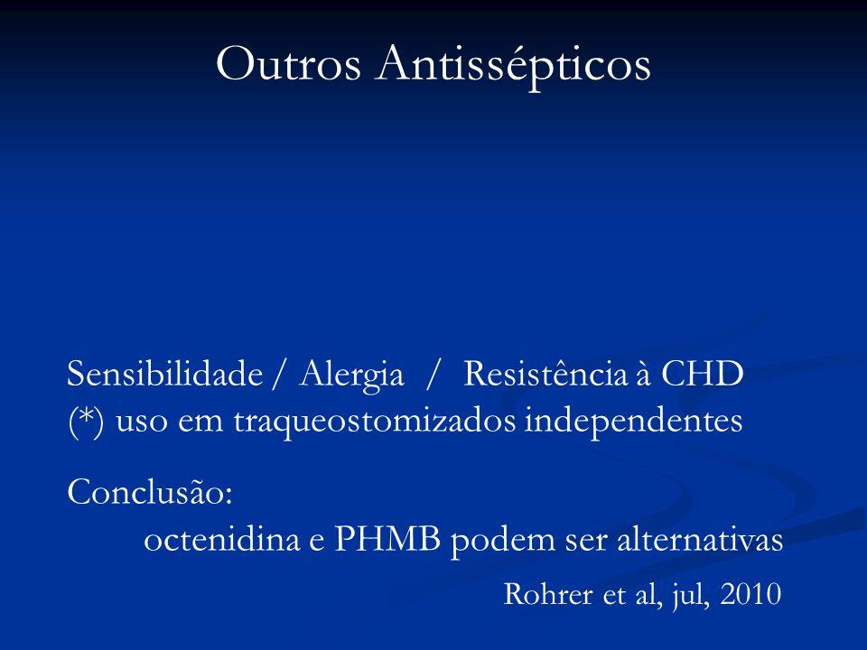Outros Antissépticos Rohrer et al, jul, 2010 Sensibilidade / Alergia / Resistência à CHD (*) uso em traqueostomizados independentes Conclusão: octenid