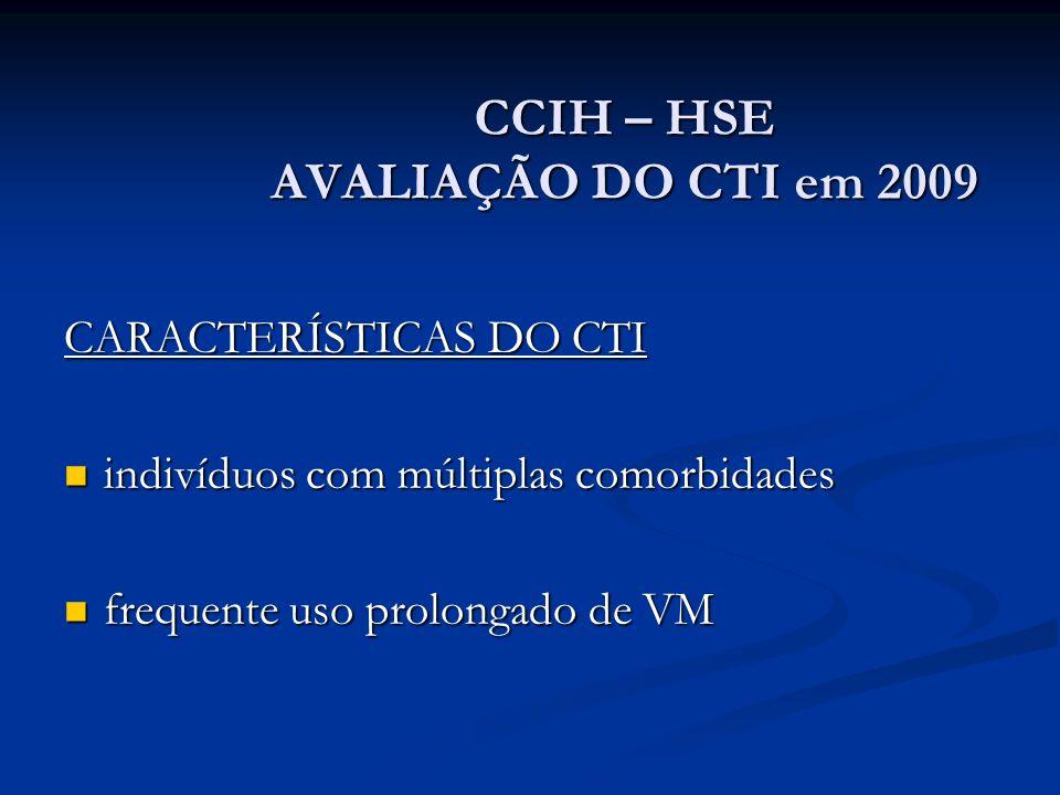 CCIH – HSE AVALIAÇÃO DO CTI em 2009 CARACTERÍSTICAS DO CTI indivíduos com múltiplas comorbidades indivíduos com múltiplas comorbidades frequente uso p
