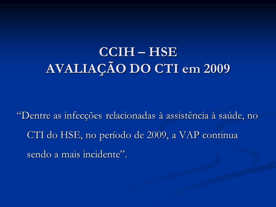CCIH – HSE AVALIAÇÃO DO CTI em 2009 Dentre as infecções relacionadas à assistência à saúde, no CTI do HSE, no período de 2009, a VAP continua sendo a