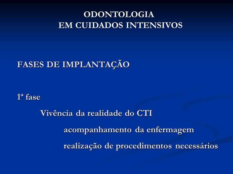 FASES DE IMPLANTAÇÃO 1ª fase Vivência da realidade do CTI acompanhamento da enfermagem realização de procedimentos necessários ODONTOLOGIA EM CUIDADOS