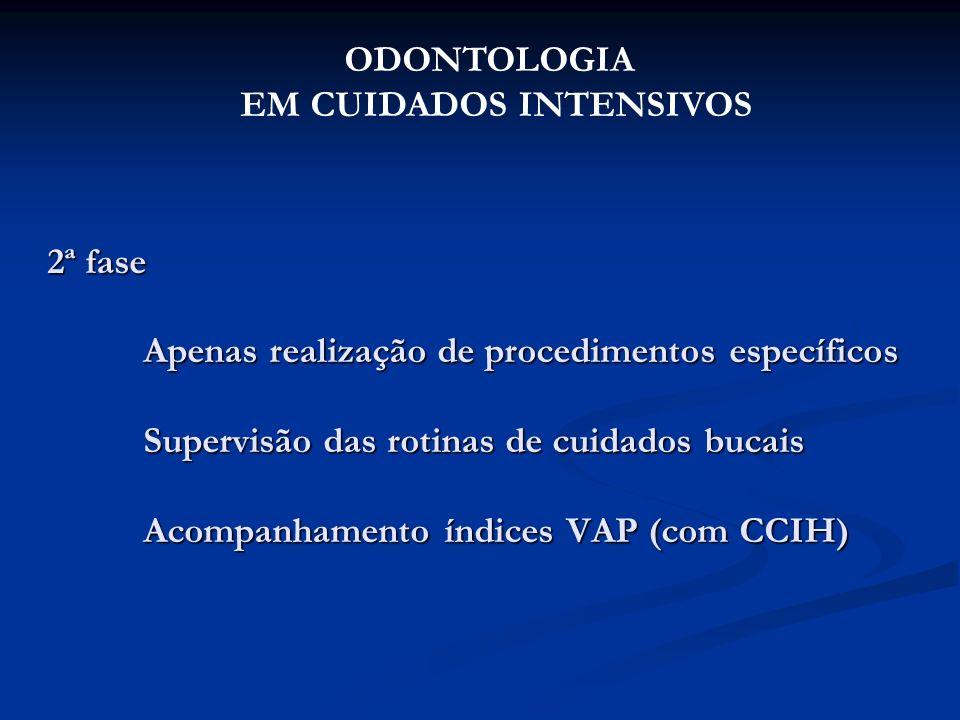 2ª fase Apenas realização de procedimentos específicos Supervisão das rotinas de cuidados bucais Acompanhamento índices VAP (com CCIH) ODONTOLOGIA EM
