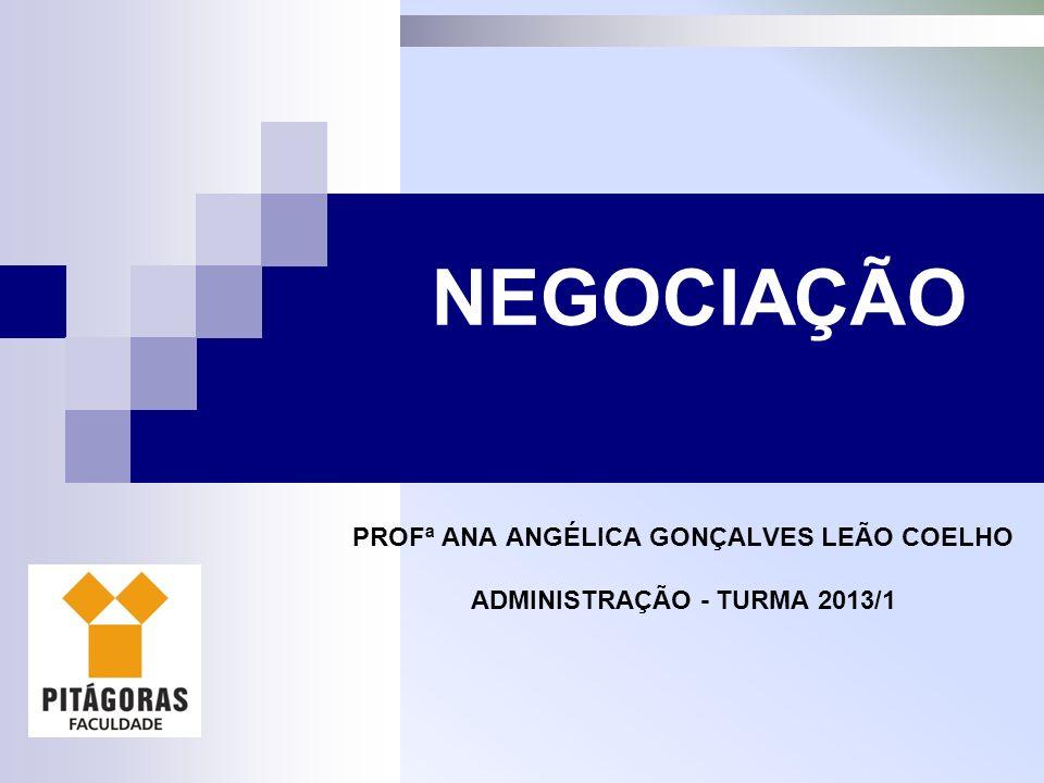 PROFª ANA ANGÉLICA GONÇALVES LEÃO COELHO ADMINISTRAÇÃO - TURMA 2013/1 NEGOCIAÇÃO