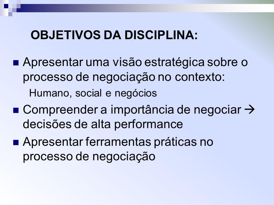 OBJETIVOS DA DISCIPLINA: Apresentar uma visão estratégica sobre o processo de negociação no contexto: Humano, social e negócios Compreender a importân