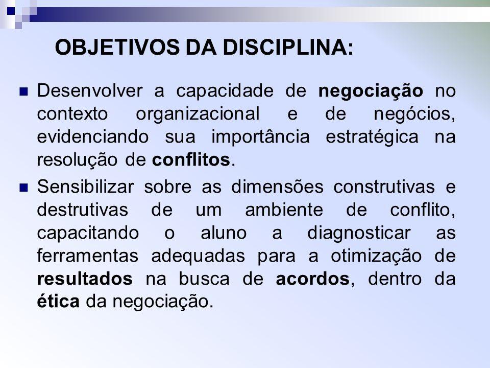 OBJETIVOS DA DISCIPLINA: Desenvolver a capacidade de negociação no contexto organizacional e de negócios, evidenciando sua importância estratégica na