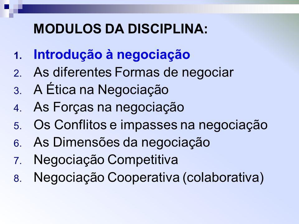 MODULOS DA DISCIPLINA: 1. Introdução à negociação 2. As diferentes Formas de negociar 3. A Ética na Negociação 4. As Forças na negociação 5. Os Confli