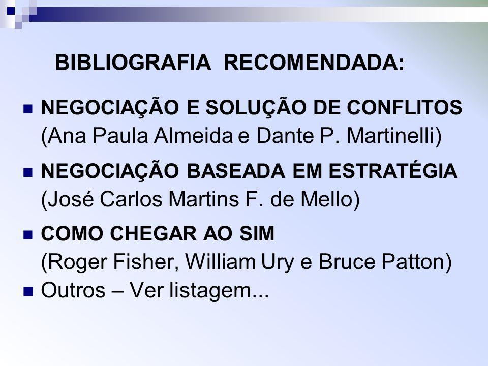BIBLIOGRAFIA RECOMENDADA: NEGOCIAÇÃO E SOLUÇÃO DE CONFLITOS (Ana Paula Almeida e Dante P. Martinelli) NEGOCIAÇÃO BASEADA EM ESTRATÉGIA (José Carlos Ma