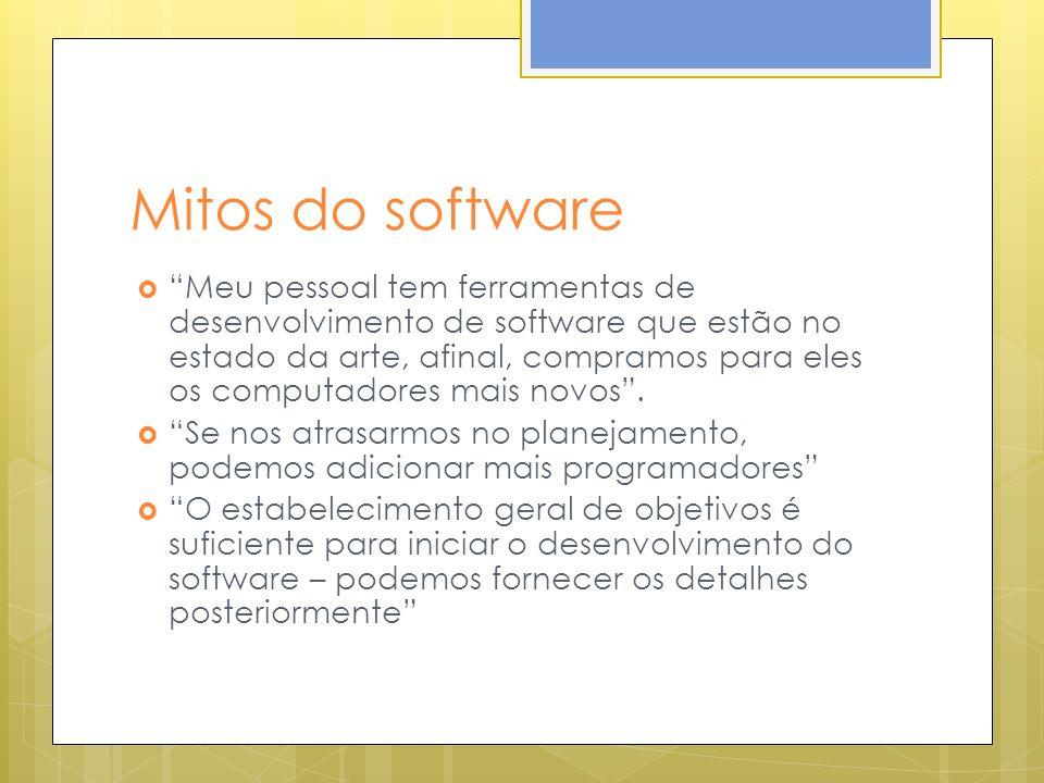 Mitos do software Meu pessoal tem ferramentas de desenvolvimento de software que estão no estado da arte, afinal, compramos para eles os computadores