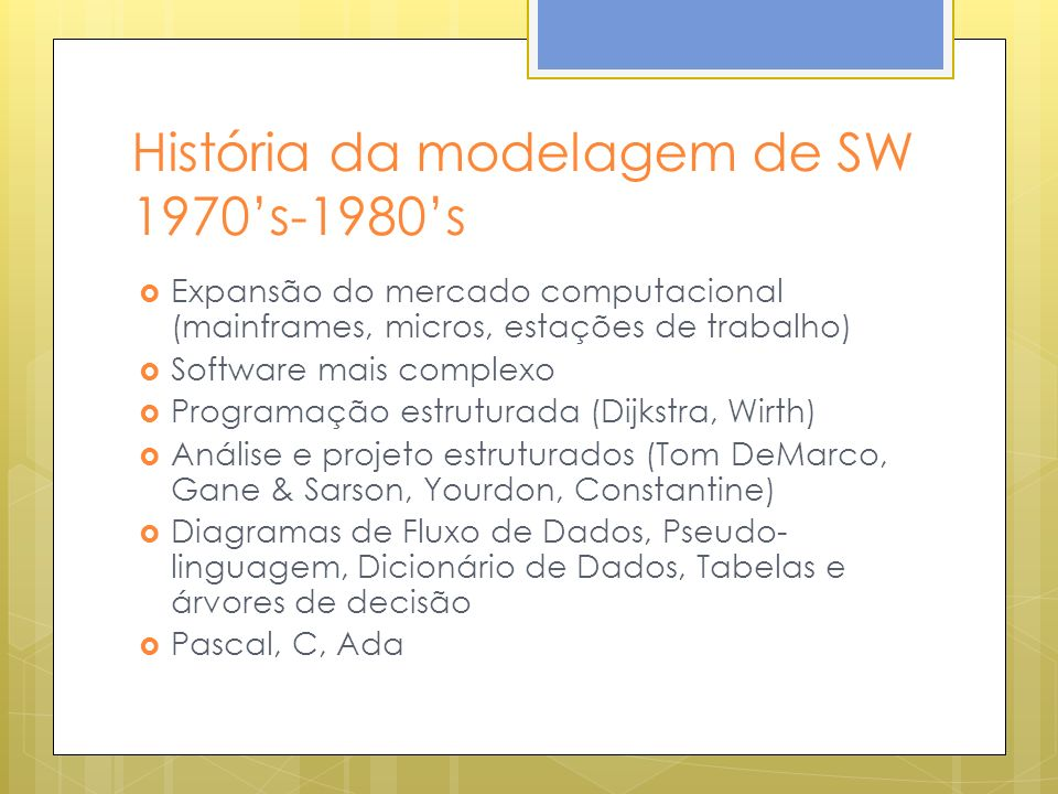 História da modelagem de SW 1970s-1980s Expansão do mercado computacional (mainframes, micros, estações de trabalho) Software mais complexo Programaçã