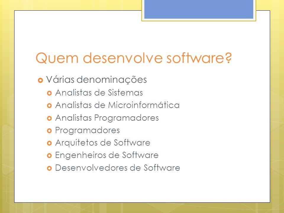 Quem desenvolve software? Várias denominações Analistas de Sistemas Analistas de Microinformática Analistas Programadores Programadores Arquitetos de