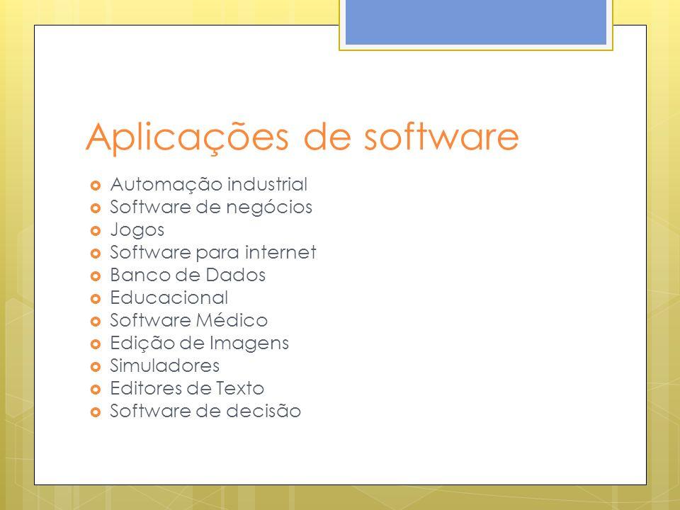 Aplicações de software Automação industrial Software de negócios Jogos Software para internet Banco de Dados Educacional Software Médico Edição de Ima