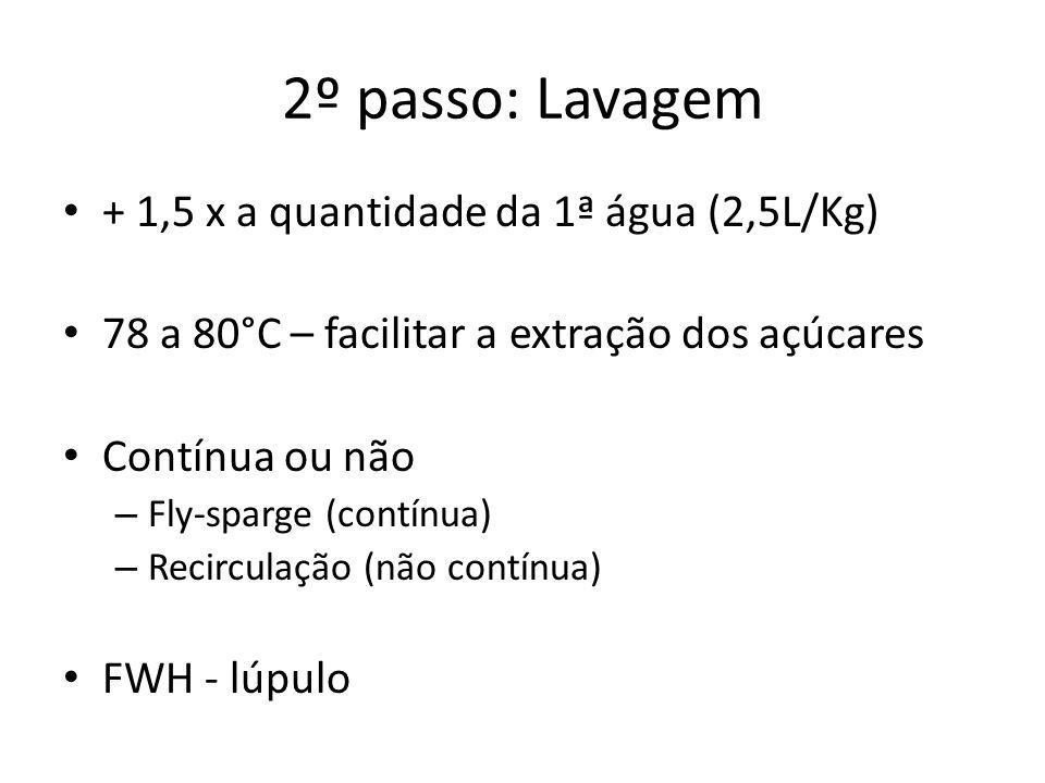 + 1,5 x a quantidade da 1ª água (2,5L/Kg) 78 a 80°C – facilitar a extração dos açúcares Contínua ou não – Fly-sparge (contínua) – Recirculação (não contínua) FWH - lúpulo 2º passo: Lavagem