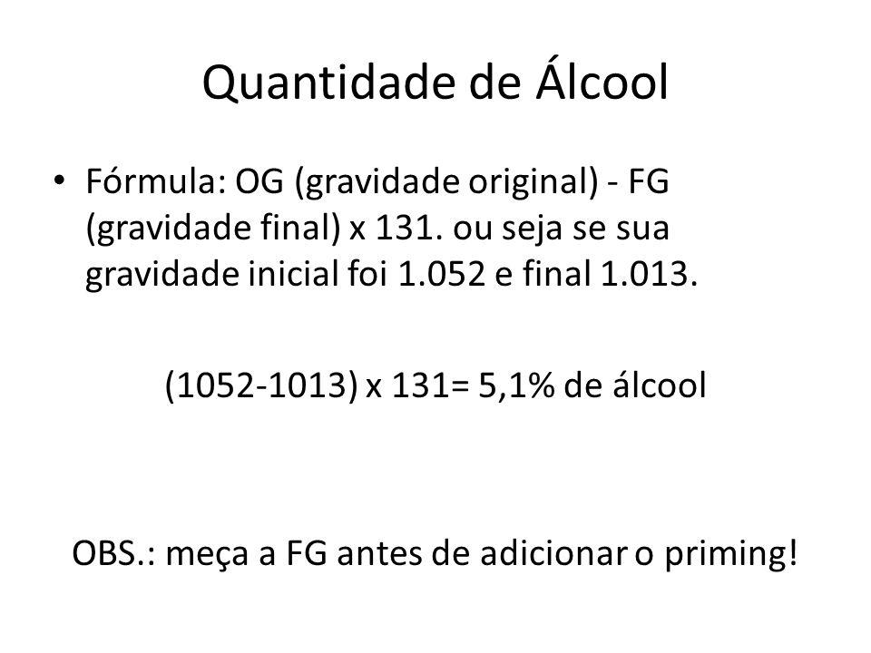 Fórmula: OG (gravidade original) - FG (gravidade final) x 131.
