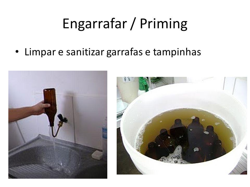 Limpar e sanitizar garrafas e tampinhas Engarrafar / Priming