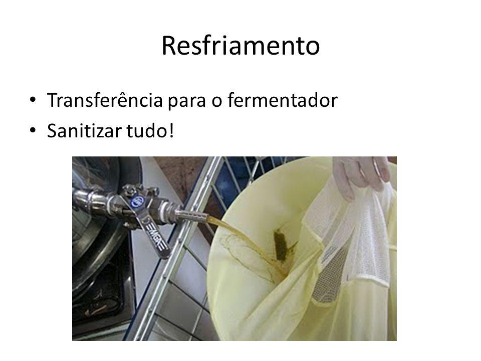 Transferência para o fermentador Sanitizar tudo! Resfriamento