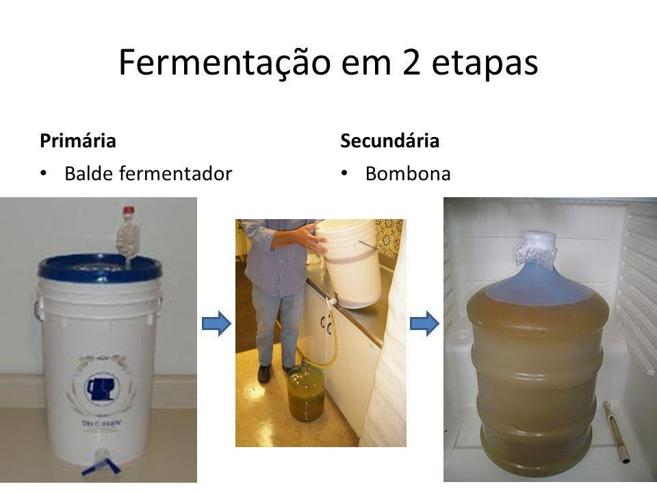 Primária Balde fermentador Bombona Fermentação em 2 etapas Secundária