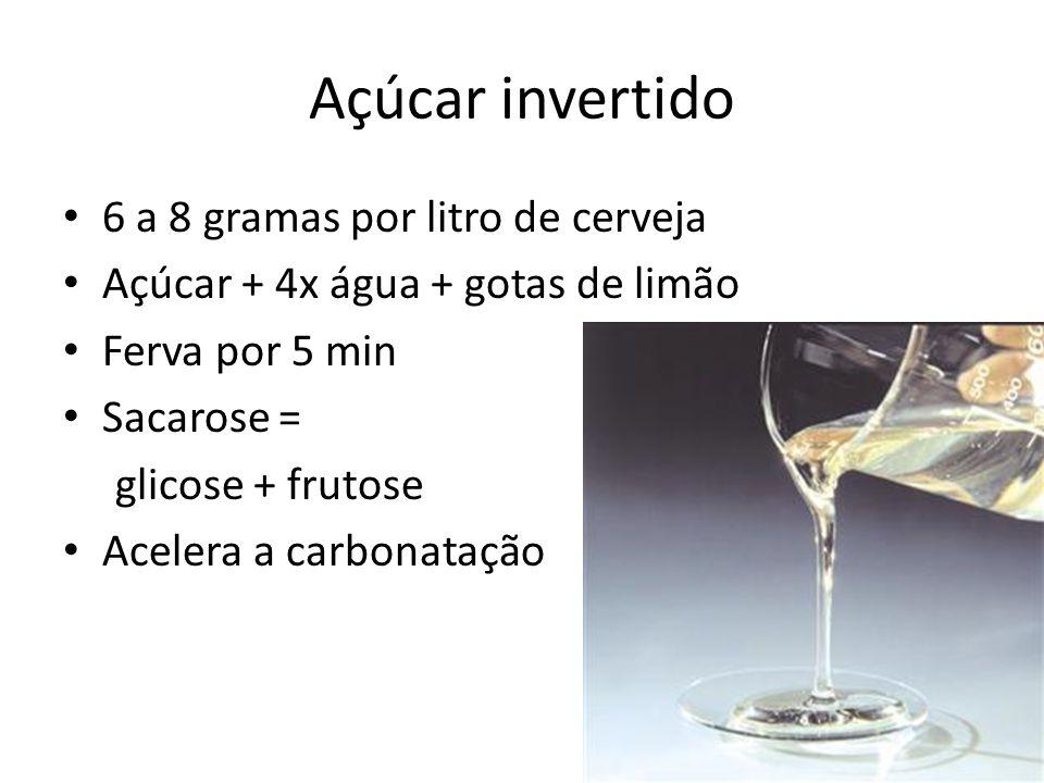 6 a 8 gramas por litro de cerveja Açúcar + 4x água + gotas de limão Ferva por 5 min Sacarose = glicose + frutose Acelera a carbonatação Açúcar invertido