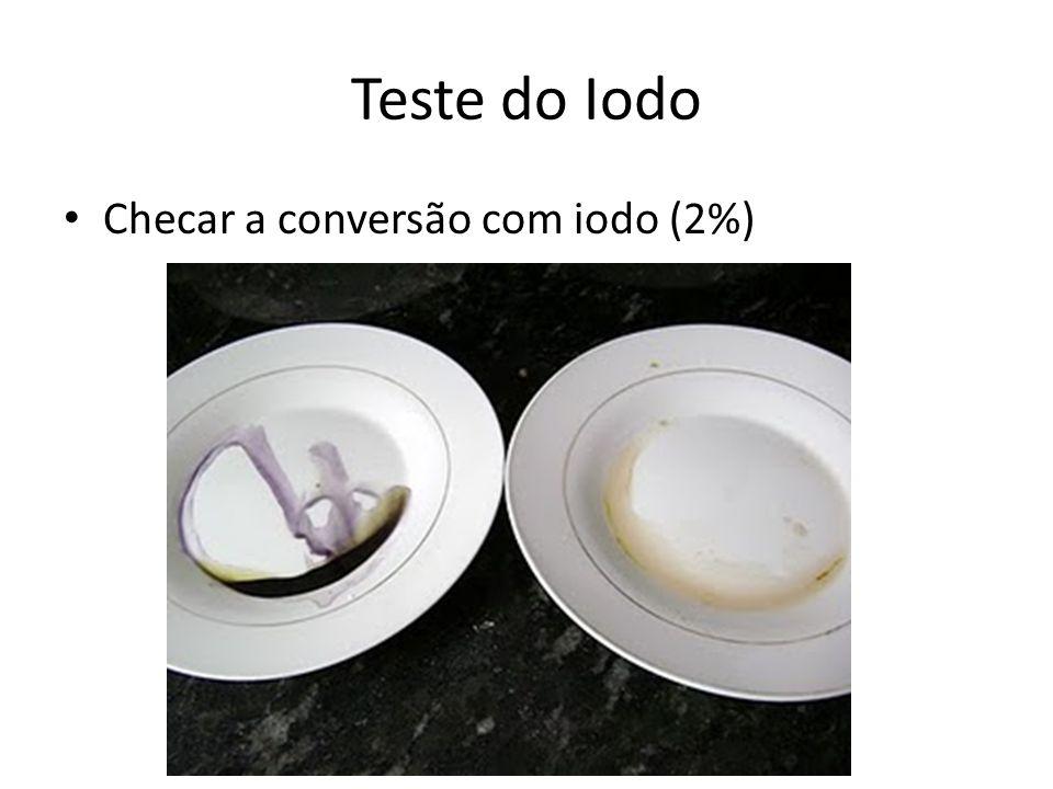 Checar a conversão com iodo (2%) Teste do Iodo