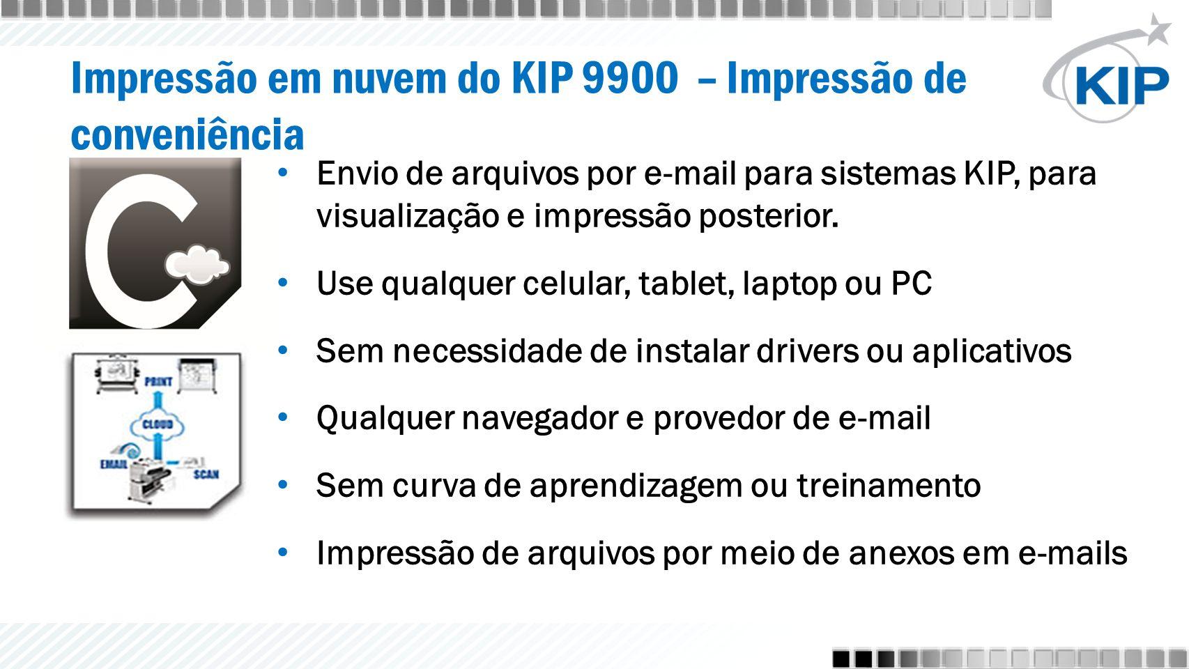 Impressão em nuvem do KIP 9900 – Impressão de conveniência Envio de arquivos por e-mail para sistemas KIP, para visualização e impressão posterior.