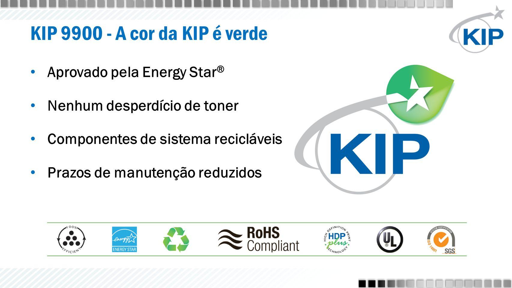 KIP 9900 - A cor da KIP é verde Aprovado pela Energy Star ® Nenhum desperdício de toner Componentes de sistema recicláveis Prazos de manutenção reduzidos