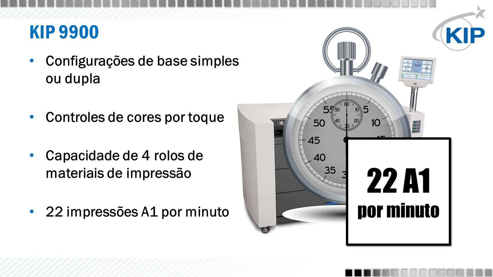 KIP 9900 Configurações de base simples ou dupla Controles de cores por toque Capacidade de 4 rolos de materiais de impressão 22 impressões A1 por minuto 22 A1 por minuto 22 A1 por minuto