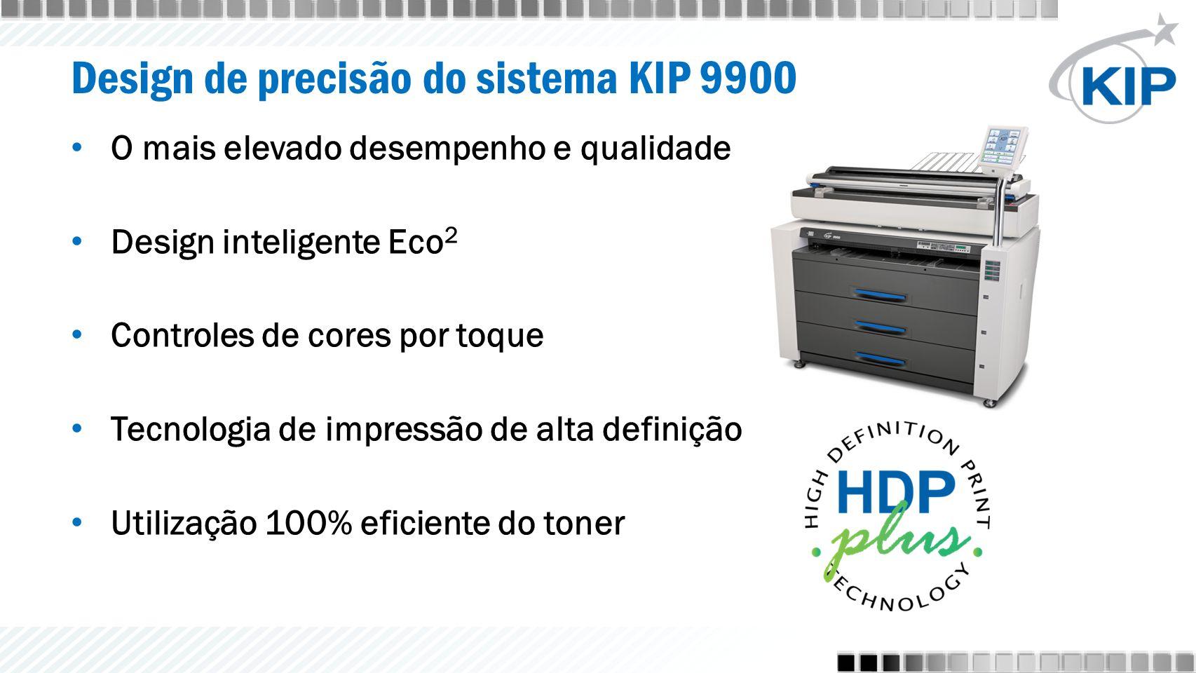 Design de precisão do sistema KIP 9900 O mais elevado desempenho e qualidade Design inteligente Eco 2 Controles de cores por toque Tecnologia de impressão de alta definição Utilização 100% eficiente do toner