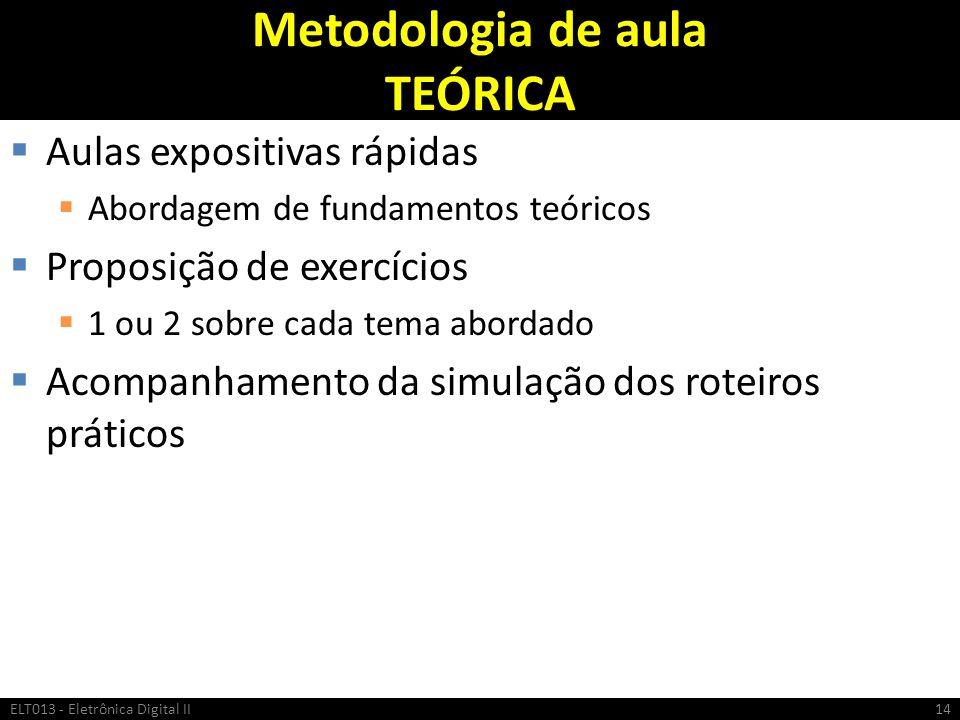Metodologia de aula TEÓRICA Aulas expositivas rápidas Abordagem de fundamentos teóricos Proposição de exercícios 1 ou 2 sobre cada tema abordado Acomp