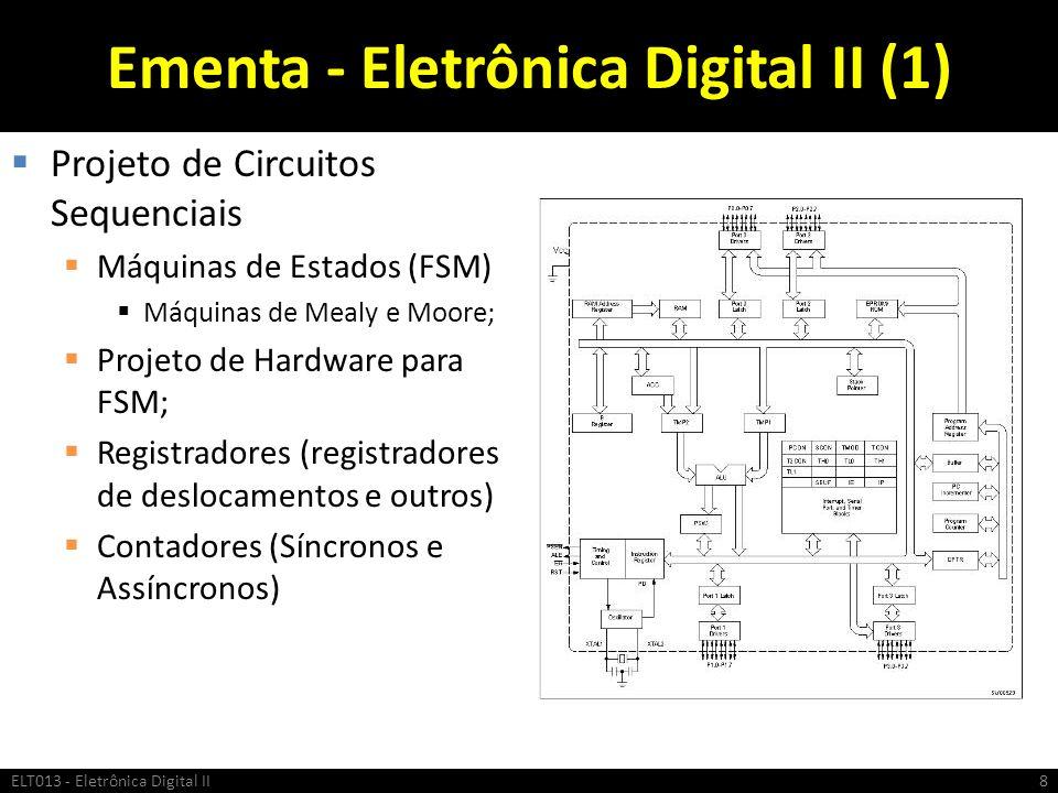 Ementa - Eletrônica Digital II (1) Projeto de Circuitos Sequenciais Máquinas de Estados (FSM) Máquinas de Mealy e Moore; Projeto de Hardware para FSM;