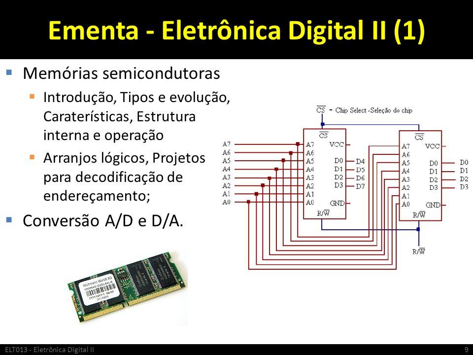 Ementa - Eletrônica Digital II (1) Memórias semicondutoras Introdução, Tipos e evolução, Caraterísticas, Estrutura interna e operação Arranjos lógicos