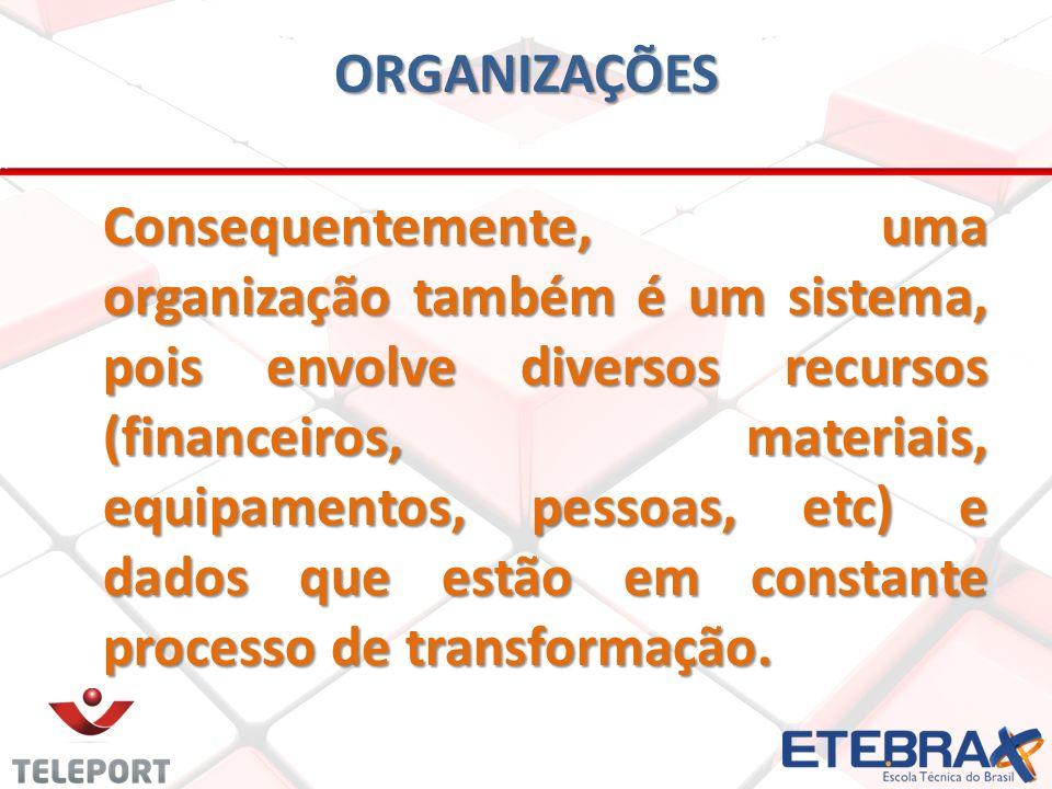 Consequentemente, uma organização também é um sistema, pois envolve diversos recursos (financeiros, materiais, equipamentos, pessoas, etc) e dados que