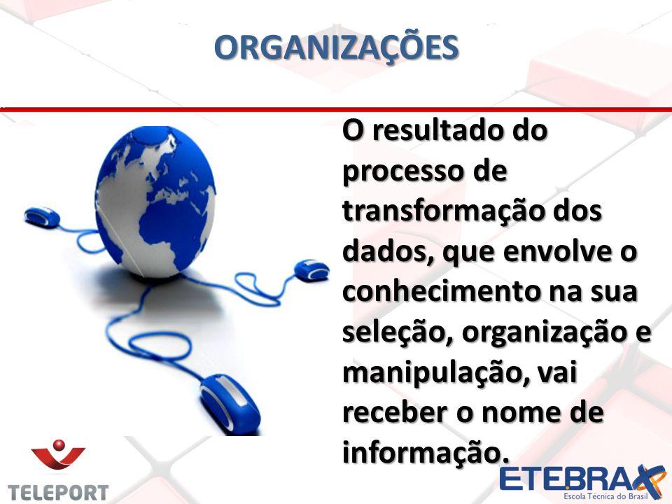 O resultado do processo de transformação dos dados, que envolve o conhecimento na sua seleção, organização e manipulação, vai receber o nome de informação.