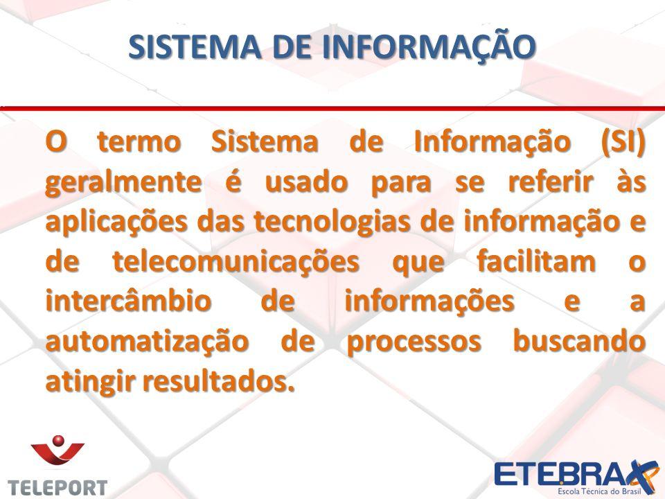 SISTEMA DE INFORMAÇÃO O termo Sistema de Informação (SI) geralmente é usado para se referir às aplicações das tecnologias de informação e de telecomunicações que facilitam o intercâmbio de informações e a automatização de processos buscando atingir resultados.