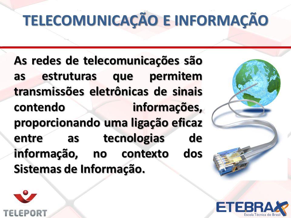 TELECOMUNICAÇÃO E INFORMAÇÃO As redes de telecomunicações são as estruturas que permitem transmissões eletrônicas de sinais contendo informações, proporcionando uma ligação eficaz entre as tecnologias de informação, no contexto dos Sistemas de Informação.