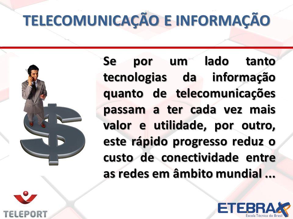 TELECOMUNICAÇÃO E INFORMAÇÃO Se por um lado tanto tecnologias da informação quanto de telecomunicações passam a ter cada vez mais valor e utilidade, p