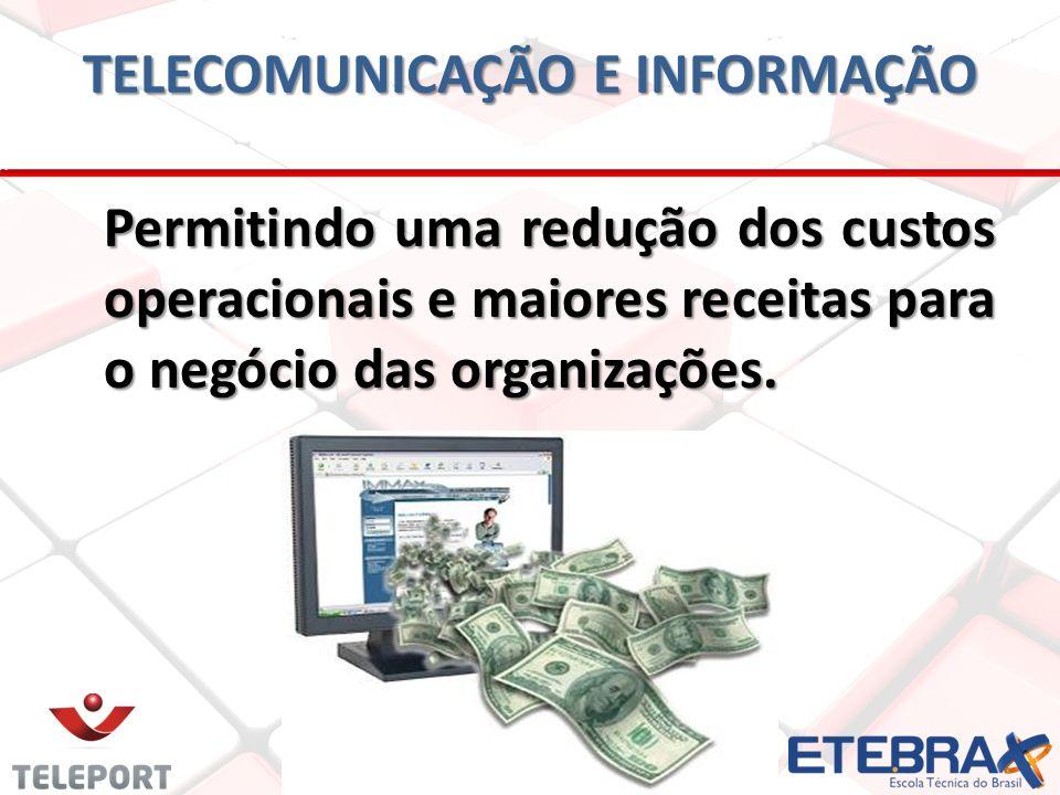 TELECOMUNICAÇÃO E INFORMAÇÃO Permitindo uma redução dos custos operacionais e maiores receitas para o negócio das organizações.