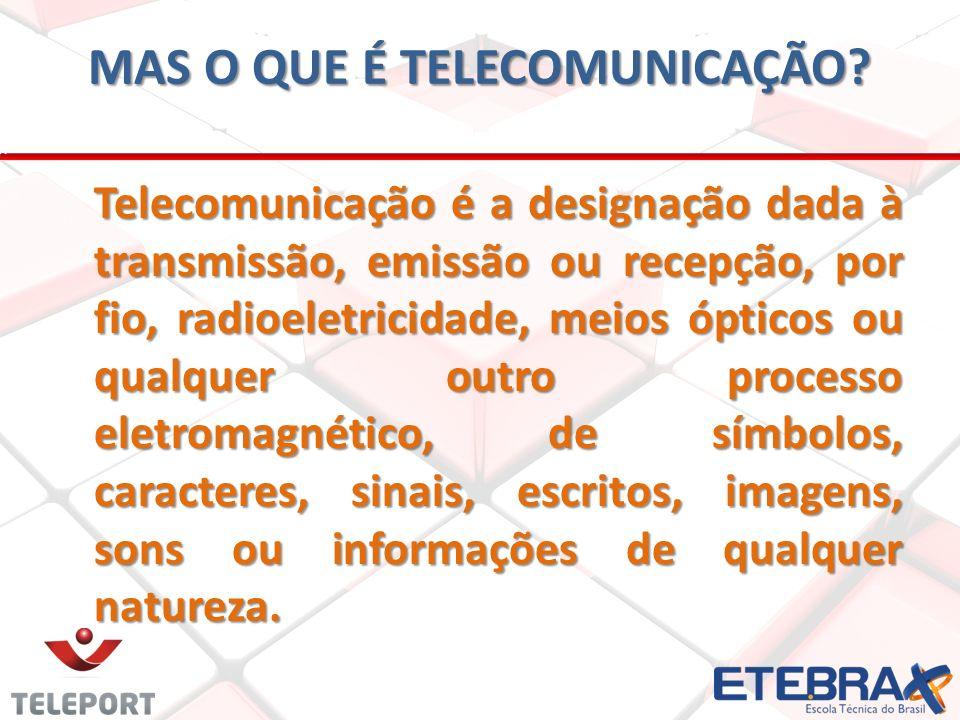 MAS O QUE É TELECOMUNICAÇÃO? Telecomunicação é a designação dada à transmissão, emissão ou recepção, por fio, radioeletricidade, meios ópticos ou qual