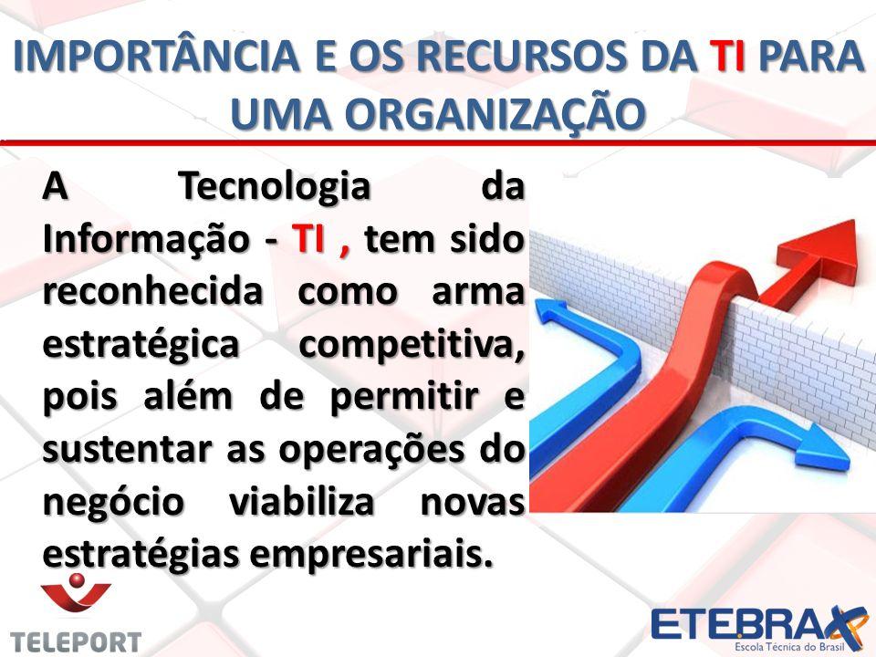 IMPORTÂNCIA E OS RECURSOS DA TI PARA UMA ORGANIZAÇÃO A Tecnologia da Informação - TI, tem sido reconhecida como arma estratégica competitiva, pois alé