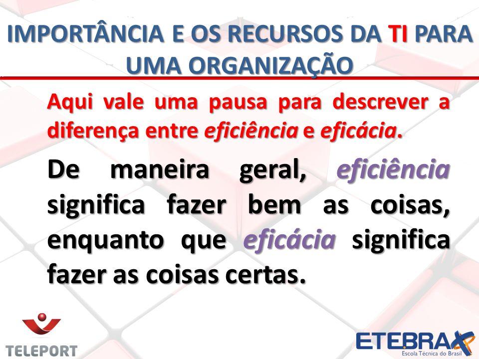 Aqui vale uma pausa para descrever a diferença entre eficiência e eficácia. De maneira geral, eficiência significa fazer bem as coisas, enquanto que e