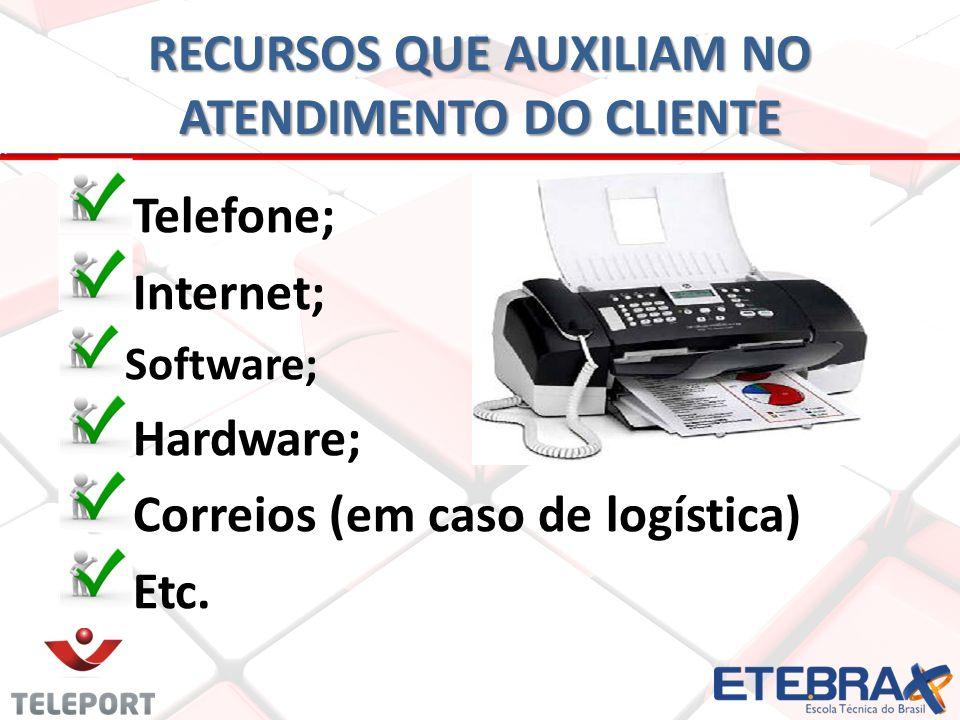 T elefone; Internet; Software; Hardware; Correios (em caso de logística) Etc. RECURSOS QUE AUXILIAM NO ATENDIMENTO DO CLIENTE