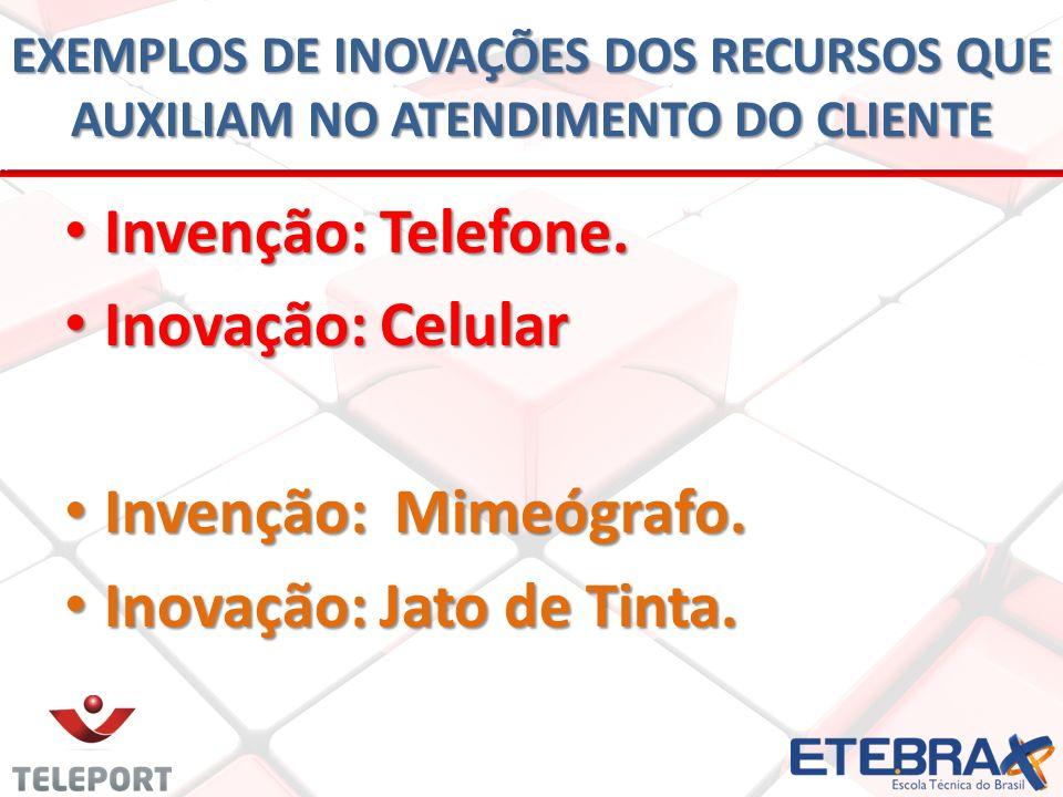Invenção: Telefone.Inovação: Celular Invenção: Mimeógrafo.