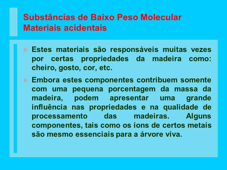 Substâncias de Baixo Peso Molecular n Junto com os componentes da parede celular existem numerosas substâncias que são chamadas de materiais acidentai